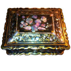 Papier Mâché Massive Size Fine Quality 19th Century Sewing Box or Jewelry Box