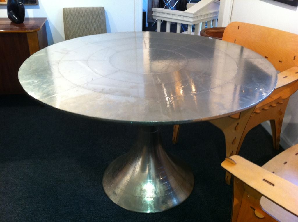 Sheet Metal And Rivet Covered Tulip Table At 1stdibs
