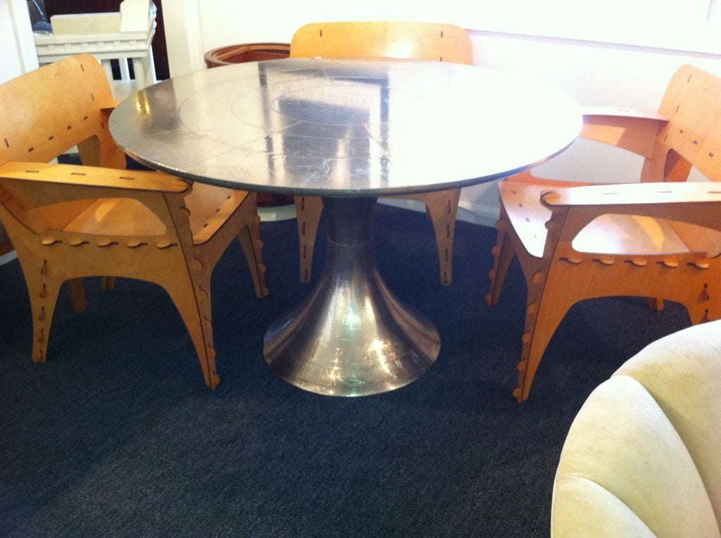 Metal Covered Tables : Sheet metal and rivet covered tulip table at stdibs