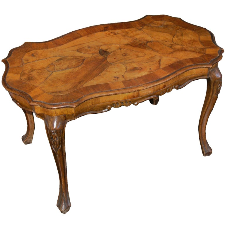 Marquetry Walnut Side Table