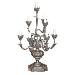Italian Tole and Silver Giltwood Lamp