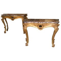 18th Century Italian Giltwood Pair of Console Tables