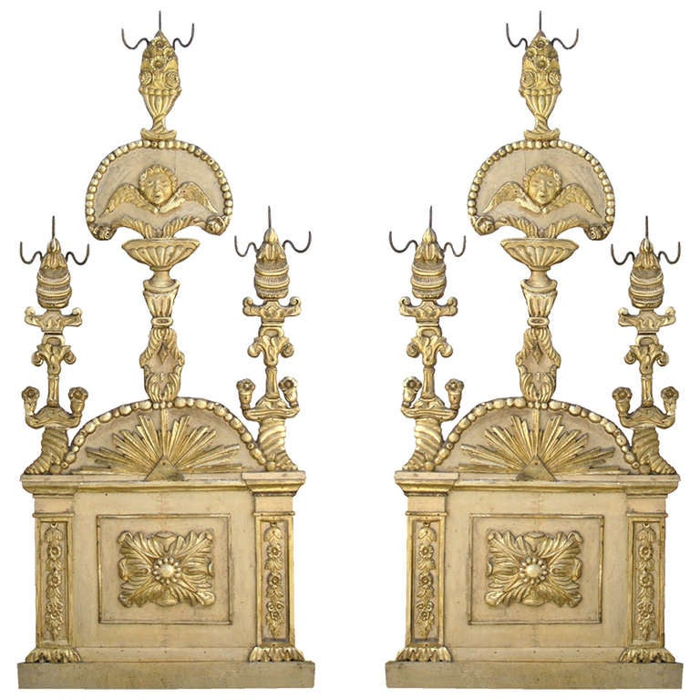 Pair of Italian Parcel Paint and Giltwood Panels
