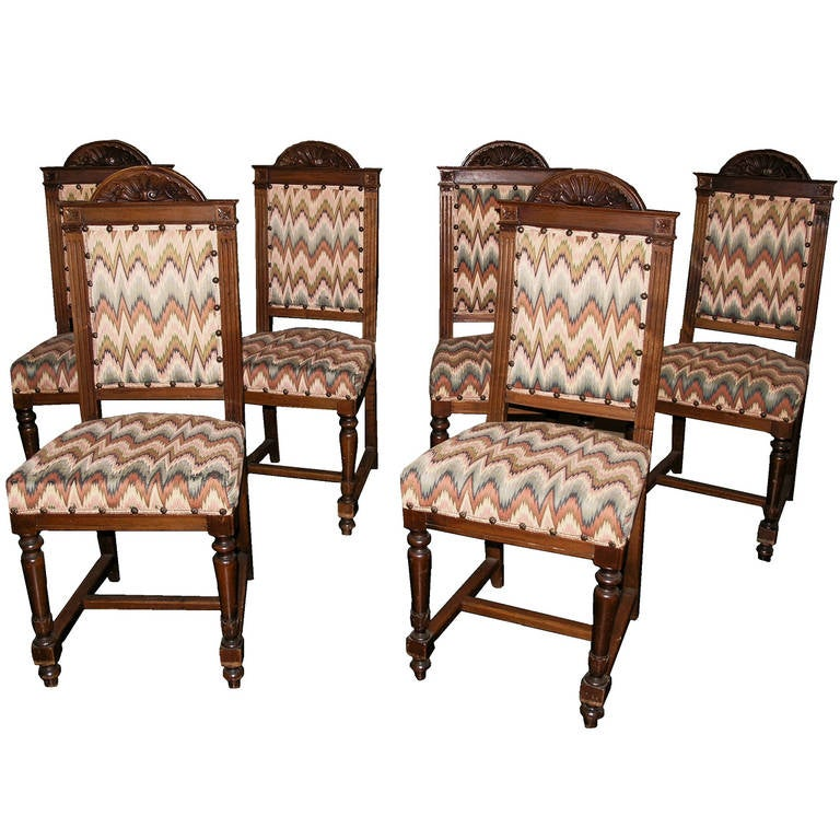 set of six tuscan walnut chairs for sale at 1stdibs