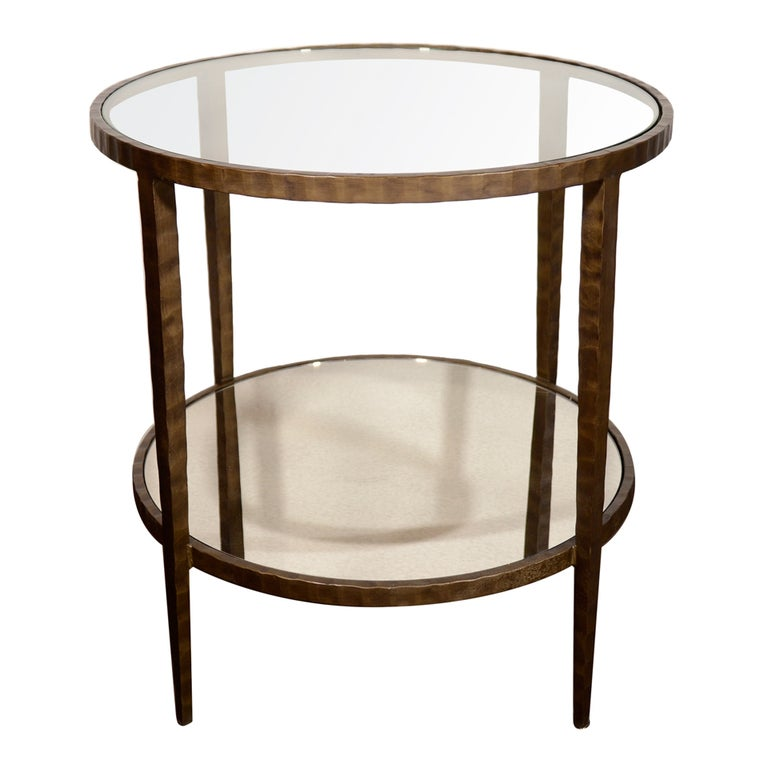 Bronze two tier occasional table with glass and antique for Glass top occasional tables