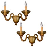 Pair of Fine Murano Glass Sconces with Scrolled Arm Design By Veronese