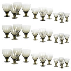 Oustanding Modernist Set of 24Piece Smoked Crystal Stemware by Orrefors