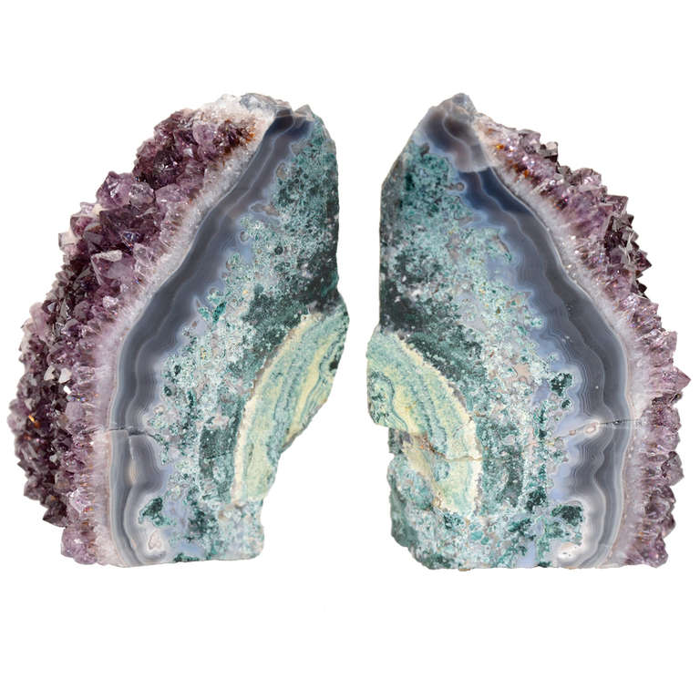 Pair of Rare Amethyst Crystal and Geode Bookends 1