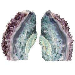 Pair of Rare Amethyst Crystal and Geode Bookends
