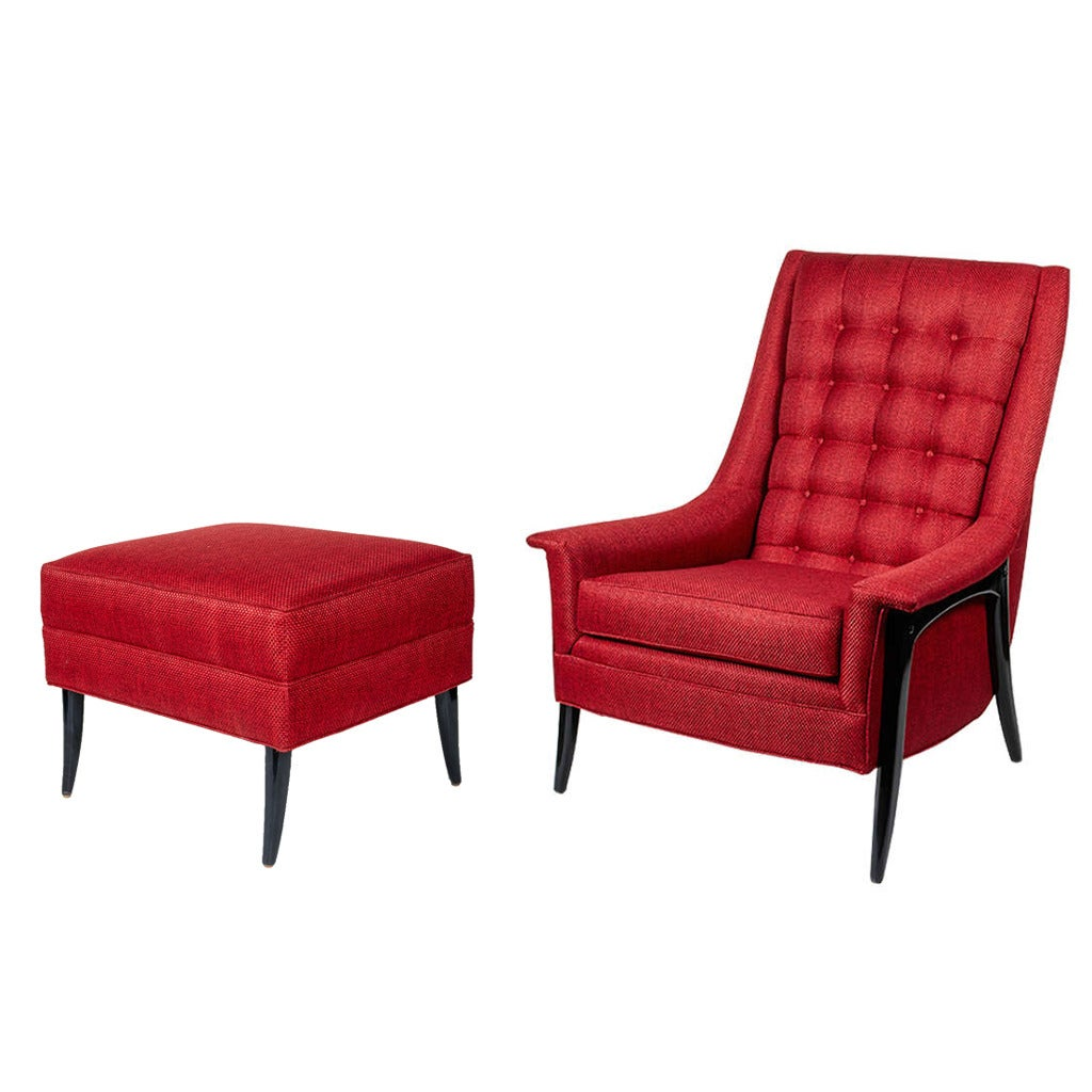 Modernist Wing Chair and Ottoman in the Manner of Paul