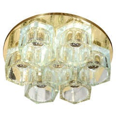Modernist Flush Mount Chandelier with Hexagon Glass Designed by Gaetano Sciolari