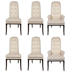 Set of Six Modernist High Back Dining Chairs Designed by Erwin-Lambeth