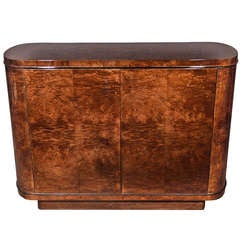 Art Deco Streamline Cabinet in Dark Burled Elm Wood