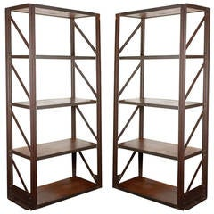 French Industrial Bookcases or Etageres with Steel Frames and Reclaimed Wood