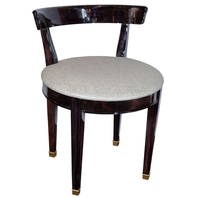 Art Deco Vanity Chair With Low Back Design In Ebonized Walnut At 1stdibs