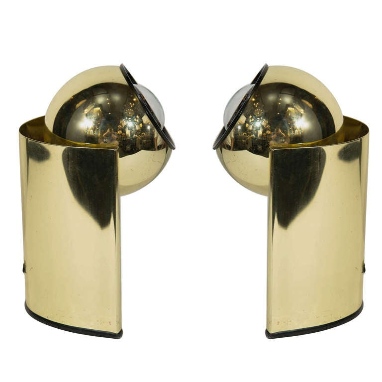 Pair of Mid-Century Brass Spot Lights in the Style of George Kovacs For Sale