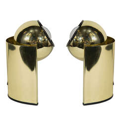 Pair of Vintage Brass Orb Lamps in the Manner of George Kovacs