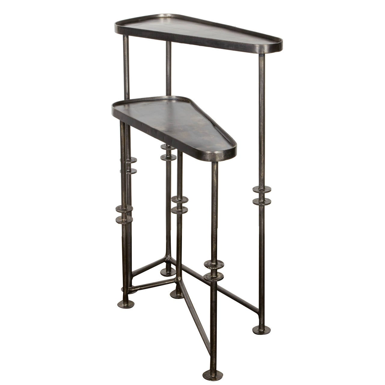 High Quality Industrial Nesting Tables And Side Tables In Burnished Metal 1