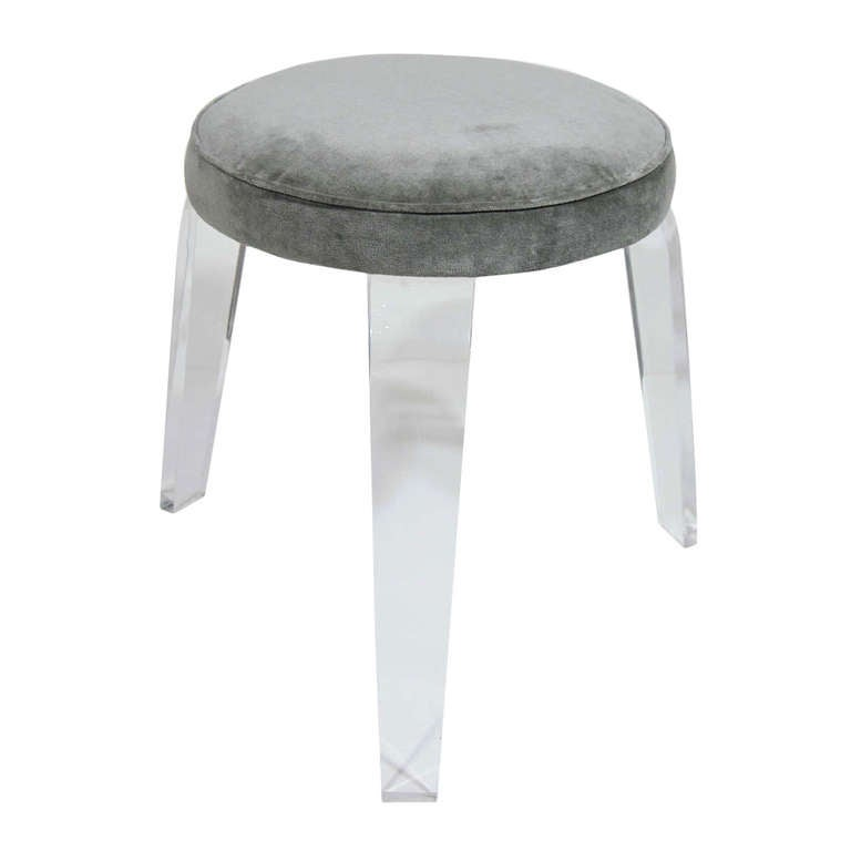 Ultra Modern Lucite and Velvet Vanity Stool with Tripod Design at ...