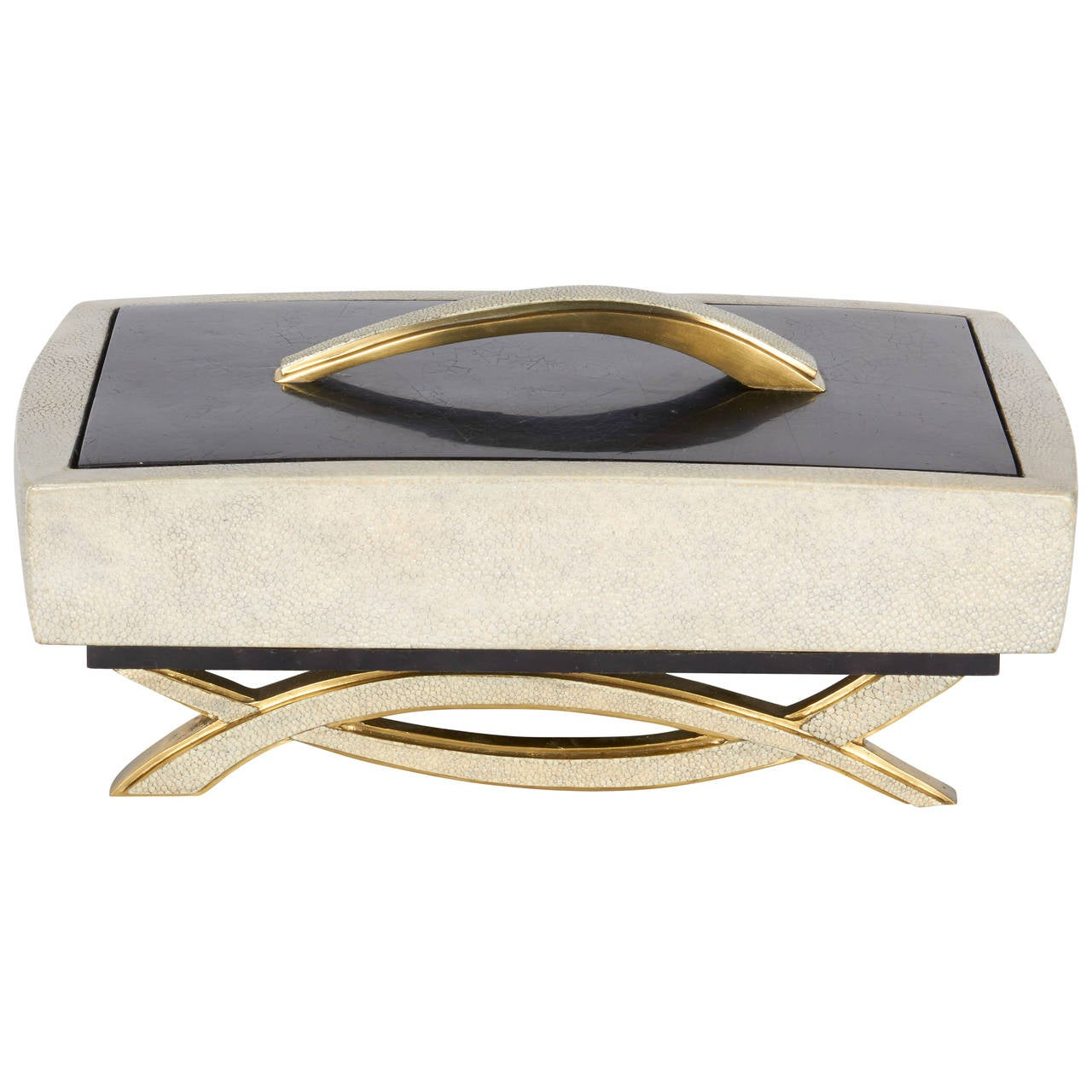 Exquisite Exotic Shagreen and Pen Shell Footed Box 1