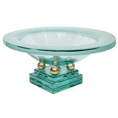 Art Deco Glass Centerpiece Footed Bowl with Stepped Base Design