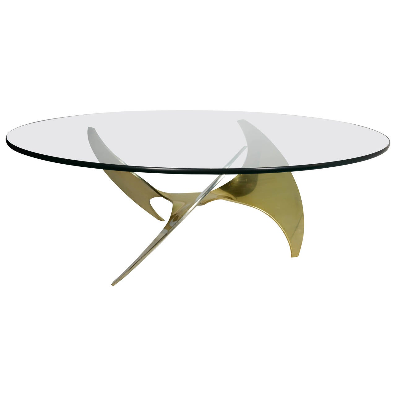Mid Century Modern Round Coffee Table With Sculptural Base Design At