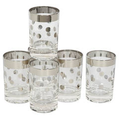 Set of Six Dorothy Thorpe Cordial Barware Glasses with Polka Dot Design