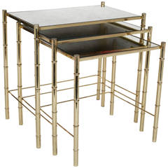 Set of Three Elegant Brass Nesting Tables in the Manner of Maison Baguès