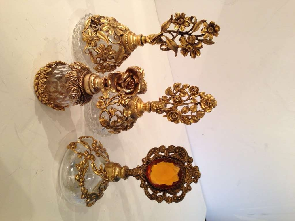 Collection of Four French Antique Perfume Bottles in Gilded Brass & Cut Crystal 2