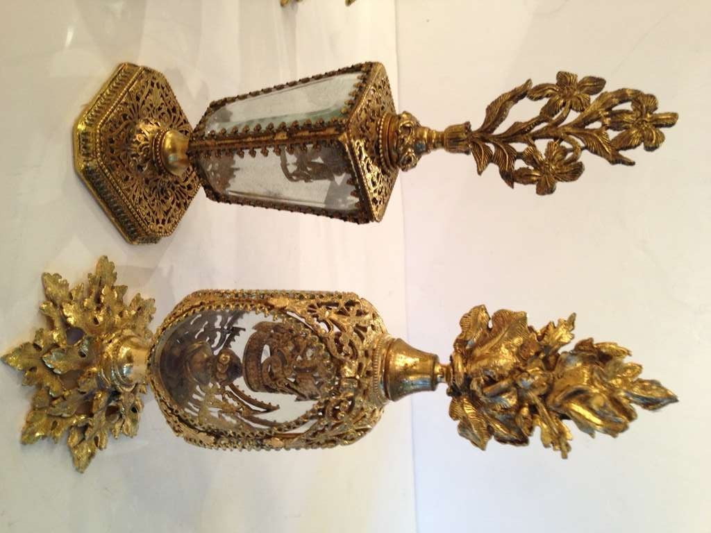 Collection of Six French Antique Perfume Bottles in Gilded Brass & Cut Crystal 4