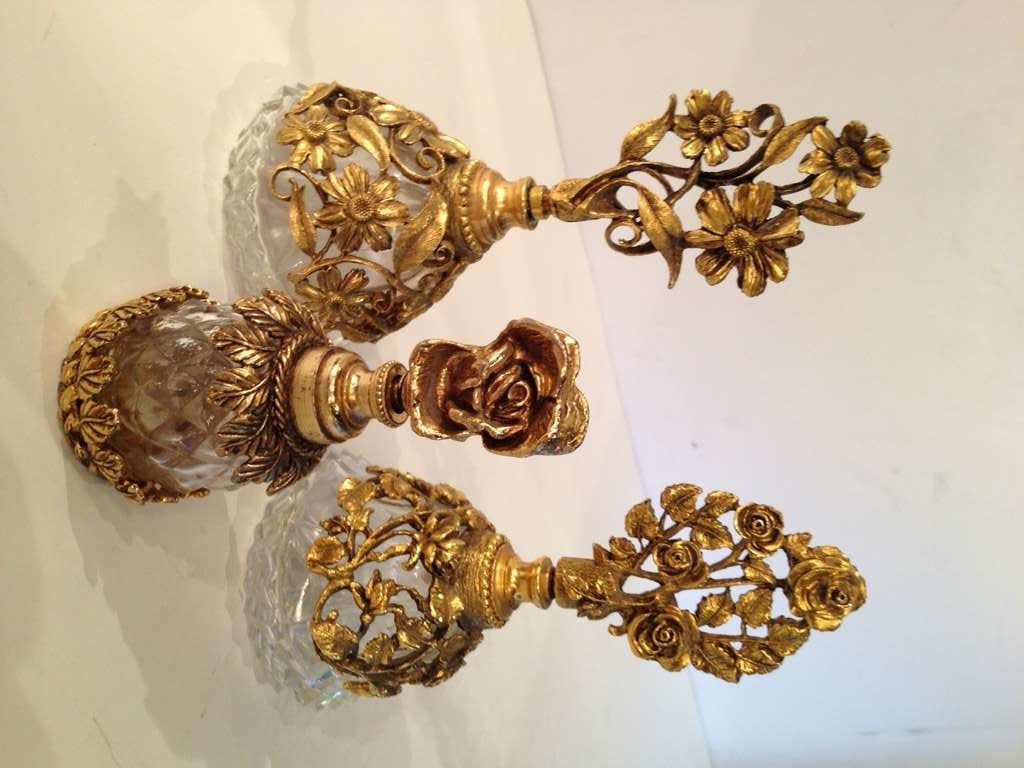 Collection of Four French Antique Perfume Bottles in Gilded Brass & Cut Crystal 4