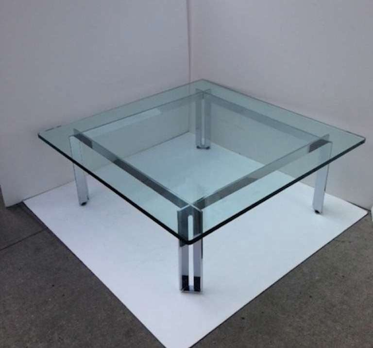 Artimeta Attributed Square Metal And Glass Coffee Table At: Modernist Coffee Table With Sculptural Base Attributed To