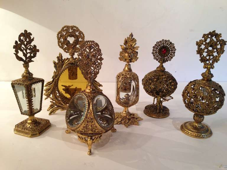Collection of Six French Antique Perfume Bottles in Gilded Brass & Cut Crystal 2