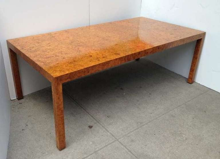 Attractive Parsons Style Dining Table In Burled Olive Wood Designed By Milo Baughman 2