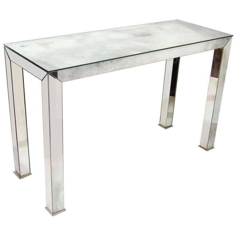 Mid-Century Modern Smoked Mirrored Console Table For Sale