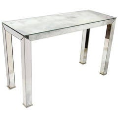 Hollywood Regency Smoked Mirrored Console Table