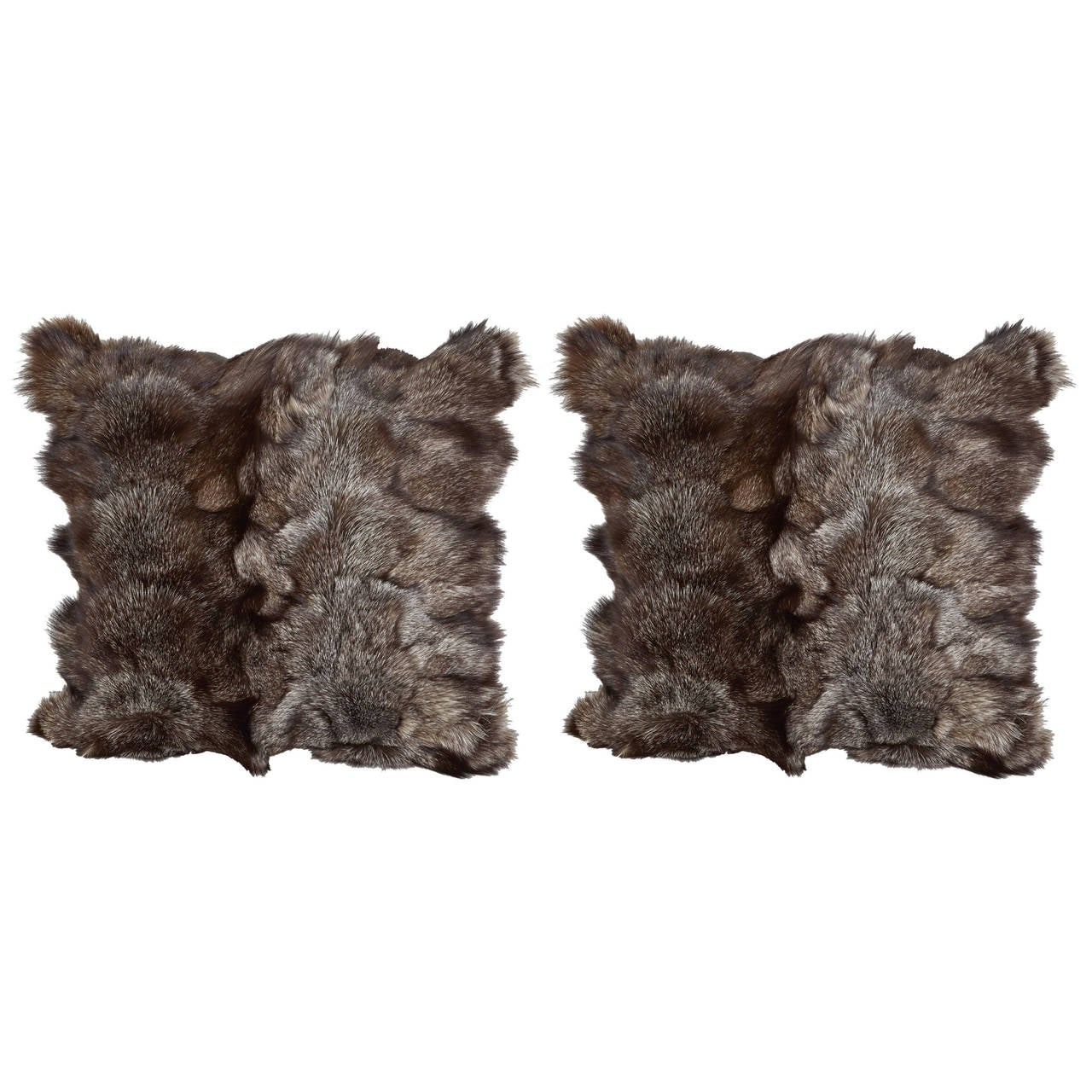 Ultra Luxe Fox Fur Pillows in Hues of Grey 1