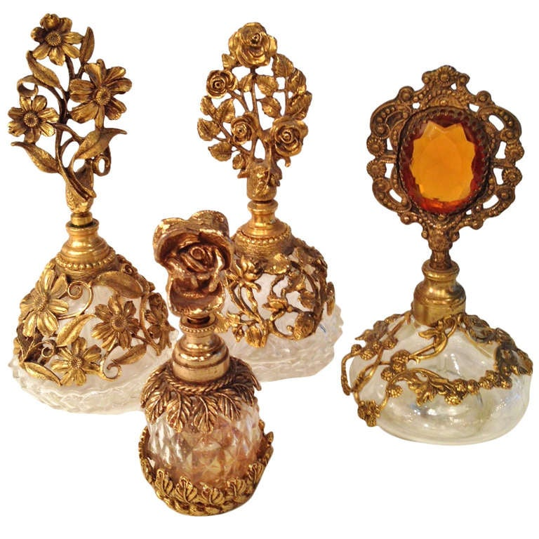 Collection of Four French Antique Perfume Bottles in Gilded Brass & Cut Crystal 1