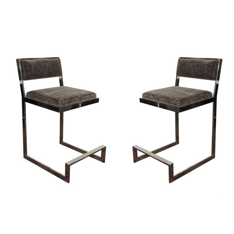 Pair Of Vintage Luxe Bar Stools By Milo Baughman At 1stdibs