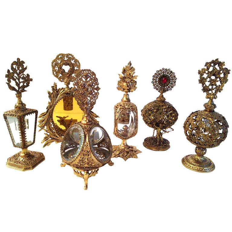 Collection of Six French Antique Perfume Bottles in Gilded Brass & Cut Crystal