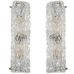 Pair of Textured Ice Glass Vanity Sconces Designed by Kalmar
