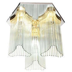 Mid Century Modern Glass Rod Waterfall Chandelier by Sciolari for Lightolier