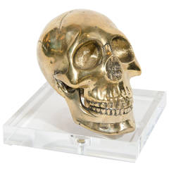 Large Hand-Forged Brass Skull Bookend