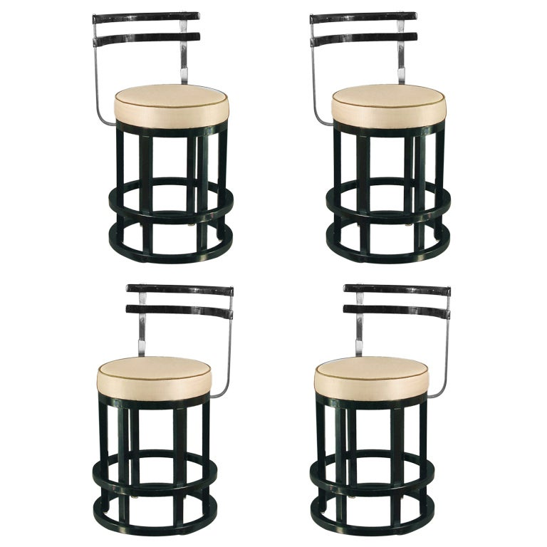 Four Art Deco Black Lacquered And Chrome Bar Stools Chair