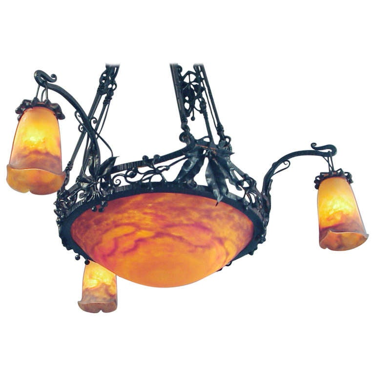 Phenomenal French Wrought Iron Chandelier With Its
