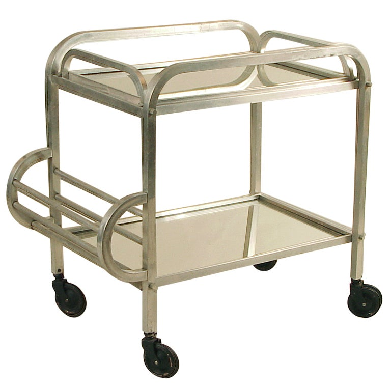 French Art Deco Rolling Bar Cart Squared Tubing At 1stdibs