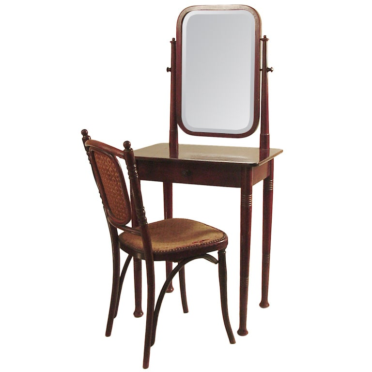 Austrian Bent-Wood Vanity and Chair, Secessionist, by