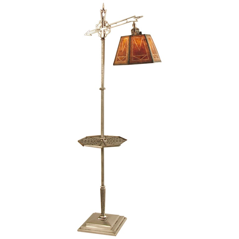 American art deco mica shade floor lamp nickel with tray for Floor lamp with gallery tray