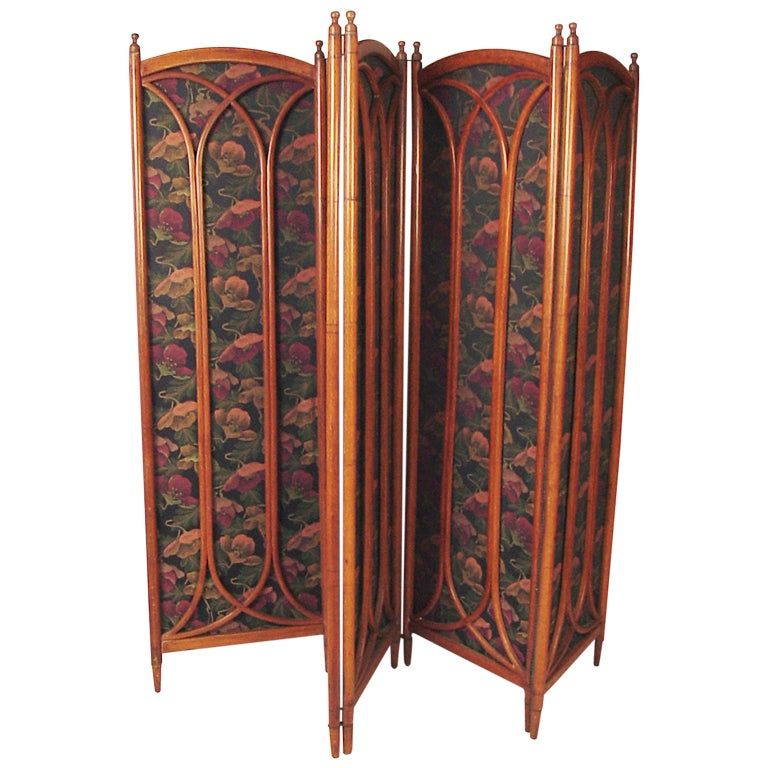 Five Panel Thonet Folding Quarter Sawn Oak Screen Nouveau