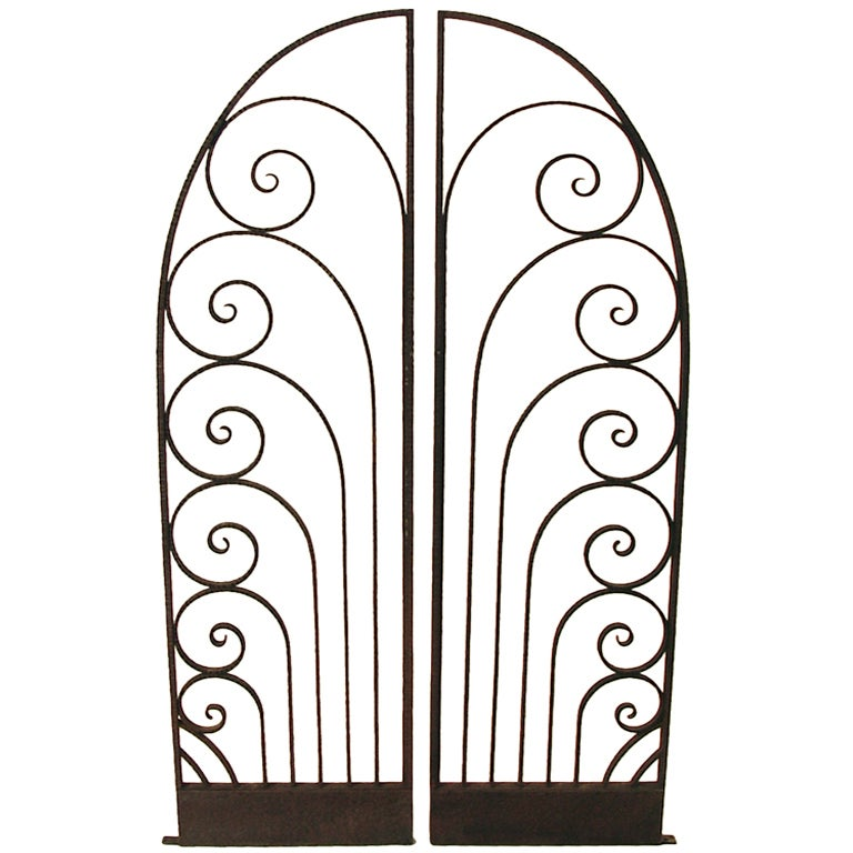 Art Deco Ornamental Ironwork: French Art Deco Wrought Iron Garden Or Decorative Gate At